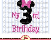 My 3rd Birthday Minnie Number 3 Svg Dxf,Birthday Silhouette & Cricut Cut Files BIR58 -Personal and Commercial Use