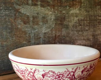 Large Soup or Chili Bowl, Avon Red Transferware Floral Pattern, Inca Ware by Shenango China ca. 1940