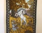 Vintage Felt Tapestry, Unicorn and Gnome, Vintage Unicorn, Mythical Creature Decor