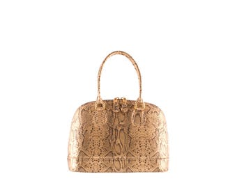 Leather top handles ANIKO // gold python effect (Italian calf skin) - FREE shipping, unique bag