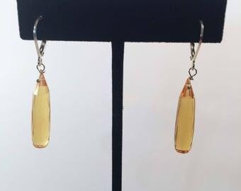 Hand Cut Citrine Dangle Earrings