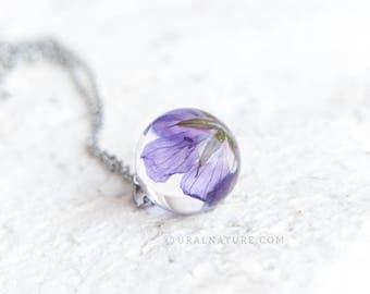 Real Flower jewelry | Purple flowers necklace | Wildflower sphere pendant | UralNature handmade necklace | Real nature jewelry | Wild flower