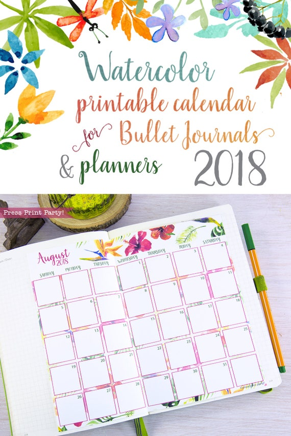 Calendar Bullet Journal 2018 : Monthly calendar for bullet journals and planners