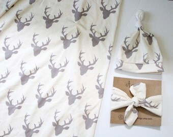 Grey Bucks Swaddle Set, Grey and White, Woodland Creatures, Jersey Knit Swaddle Blanket, Baby Blanket, Nursing Cover, Gender Neutral