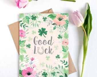 Good Luck Card - Large card (A5) - Good Luck - Luck Card - Watercolour Card