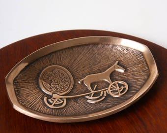 Vintage Aedel Malm brass bronze pin dish - 1950s Danish mid century desk decor - Trundholm Sun Chariot - Nordic Scandinavian home decor
