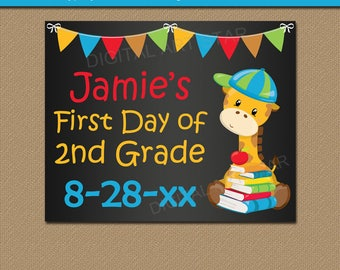 First Day of School Chalkboard Sign Template, Printable Chalkboard Sign, First Day of 2nd Grade Printable 2nd Grade Sign, School Printables