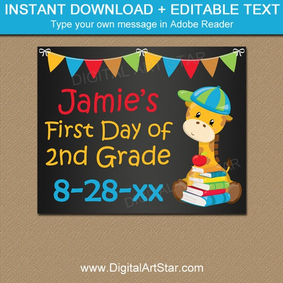 First Day of School Chalkboard Sign Template, Printable Chalkboard ...