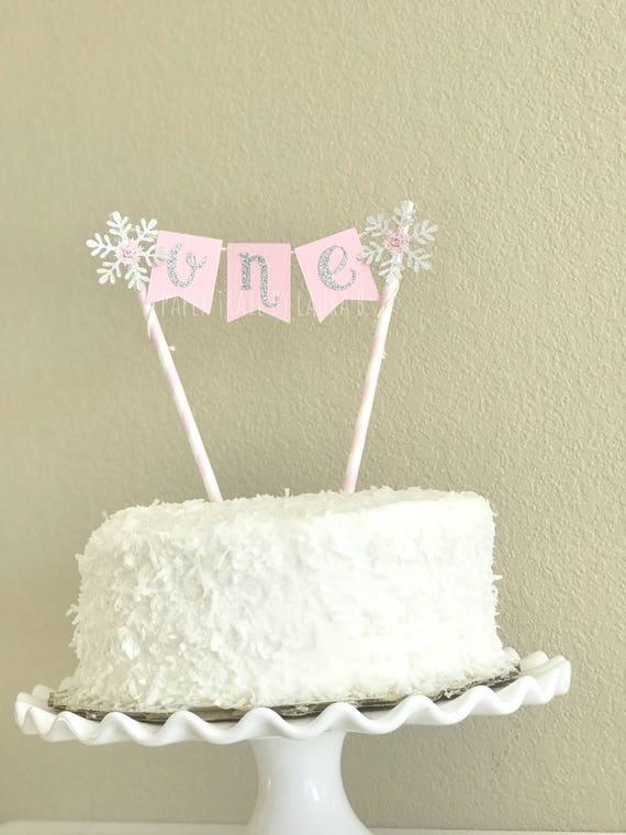 Pink Silver Snowflake Birthday Cake Topper First Birthday Cake