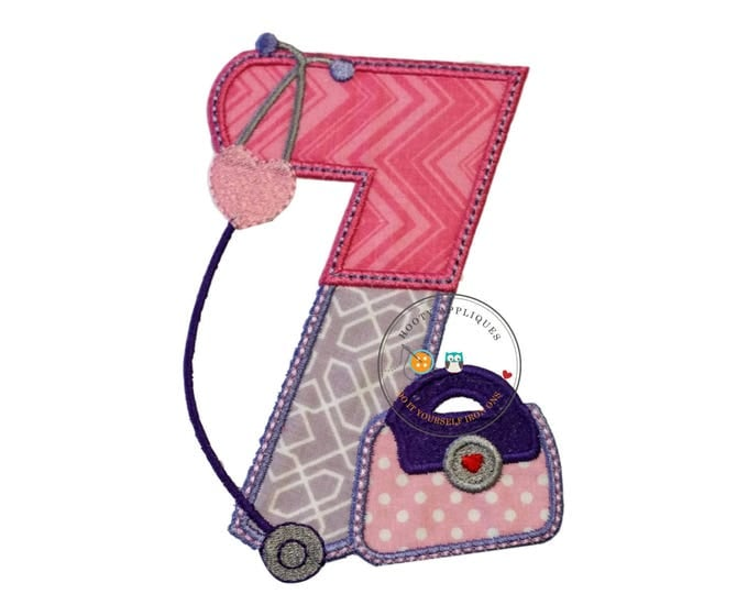 Girl doctor birthday number seven- iron embroidered fabric applique patch embellishment- ready to ship