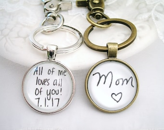 Signature Key Chain Gift for Dad Handwriting Memory Charm KeyChain New Car Gift for Him New Home Gift Signature Keychain Custom Message Gift