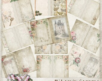 Old Rose Printable Journal, Hybrid Journal, french, garden, vintage, junk journal, digital paper, ephemera, tags, commercial use, mini album