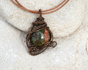 Unakite wire wrapped pendant Gemstone necklace Small Everyday jewelry Natural green stone Top selling items Best seller shop