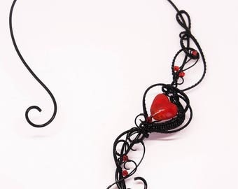 Black wire necklace collar red heart wire wrapped gothic jewelry statement necklace choker Anniversary gift for women girlfriend goth ooak