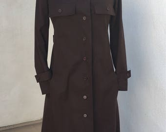 Vintage Givenchy Nouvelle Boutique Mod brown cotton coat Nehru collar sz S