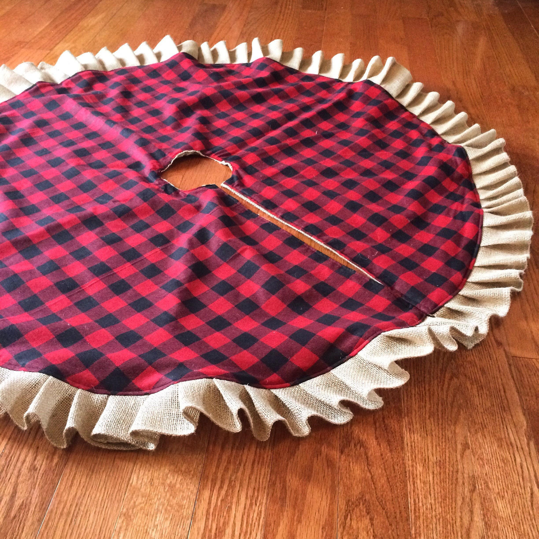 Buffalo Plaid Burlap Ruffle Christmas Tree Skirt 45 46 Red And Black Check Flannel Cotton Natural Farmhouse Cabin Decor