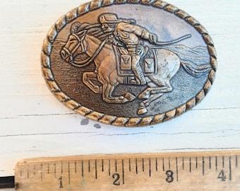 Metal 'Pony Express Rider' Vintage Belt Buckle ~ Commemorative /1981 80's era ~ Raised Detail ~ by Mervyns ~ Western Cowboy Accessory