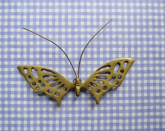 Brass Wall Hanging Butterfly // Vintage Mid Century Modern Wall Plaque Decoration Small Retro Child's Room Decor Nursery Decoration Mod