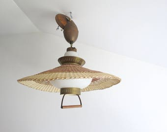 Vintage Wicker Hanging Light Fixture Adjustable Mid Century Modern Gold And Brown Woven Basketweave