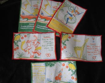 Set 6 Vintage Cocktail Napkins Tony Sarg Toasts Elephant Giraffe Can Can Skater Fisherman