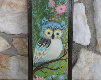 Vintage Mod Mid Century Owl Wall Hanging Plaque Art