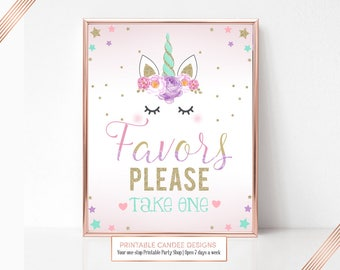 Unicorn Party Sign, Unicorn Favors Sign, Birthday Sign, Unicorn Table Sign, Printable Party Sign, Instant Download