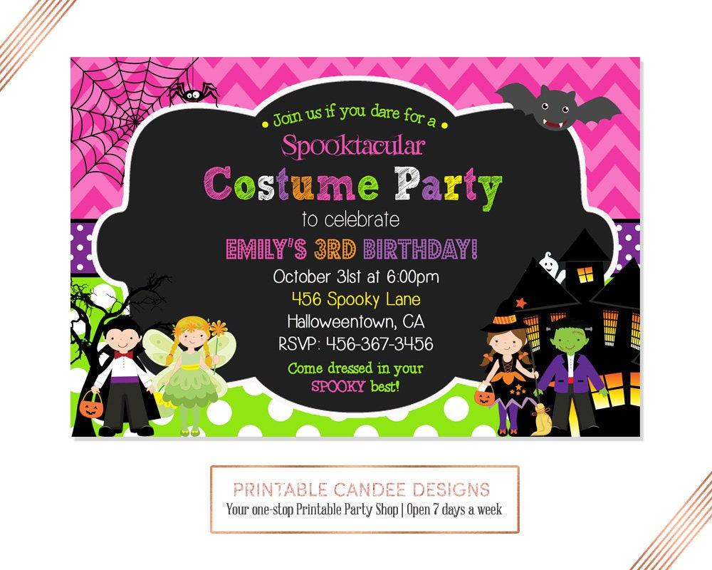 Girl Costume Party Birthday Invitation, Halloween Birthday ...