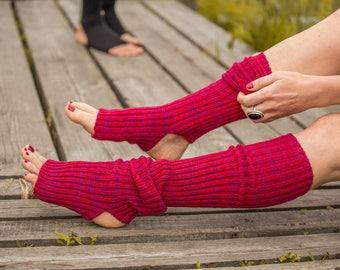 Yoga socks spats / dance socks / boot socks leg warmers Red very long knee high gift for yoga Clothing Accessories Women legwear