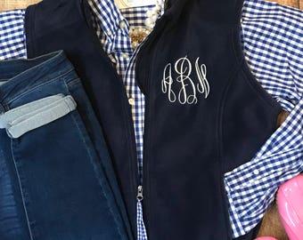 Ladies Custom Embroidered Monogrammed Fleece Vest - Monogram Fleece Vest - Game Day Vest - Women's Monogram Fleece Vest - Monogrammed Vest