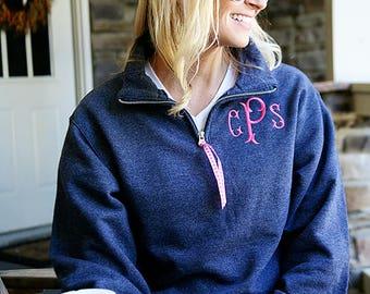 Monogram Quarter Zip Sweatshirt - Monogram 1/4 Zip Sweatshirt - Monogrammed Quarter Zip - Embroidered Quarter Zip Pullover  - Embroidery