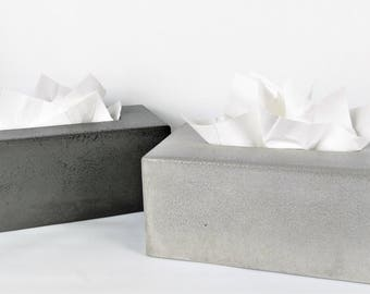 Concrete Tissue Box Cover / Kleenex Tissue Box Cover / Rectangular Tissue Box Cover / Tissue Box Holder / Bathroom Organization