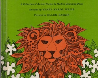 groovy mod 1960s children's poetry book A Paper Zoo, Ellen Raskin illustrations, children's poems, animal poems by modern American poets