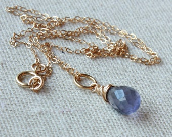 Iolite Pendant Necklace, Goldfilled wire wrap, violet blue gemstone charm, petite pendant, September birthstone, holiday gift for her, 4466