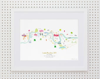 London Marathon Route Map Art Print (Standard & Personalised available)