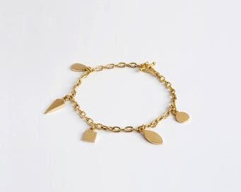 18k Gold Charm Bracelet, Geometric Bracelet, Link Charm Bracelet, Solid Gold Links Bracelet, 14k Gold Bracelet for Woman