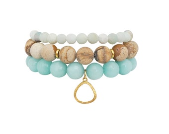 Energy Balance Stack - Bracelet Stack - Beaded Bracelets - Amazonite Bracelet - Jasper Bracelet - Teal Bracelet - Yoga Jewelry