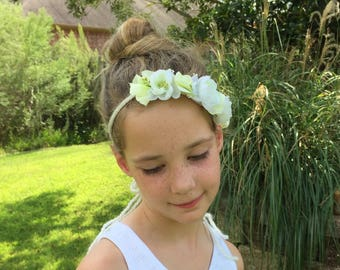 Ivory and Lime Green Floral Crown Halo - Maternity, Wedding, Bridal, Newborn, Baby, Child - Tieback Headband Photo Prop - Ready to Ship
