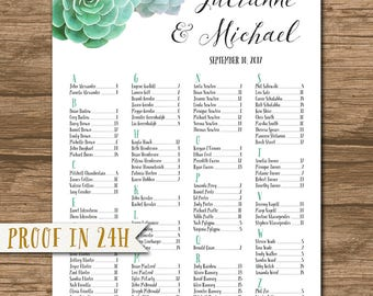 Wedding Seating Chart, Wedding Seating Plan, Watercolor Seating Chart, Succulent Seating Chart - alphabetical or by table number - Julianne