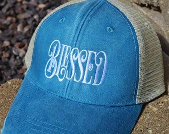 "Embroidered ""BLESSED"" Hat, Embroidered Blessed Hat, Distressed Trucker Hat, Baseball Caps, Distressed Baseball Cap, Blessed Hat"
