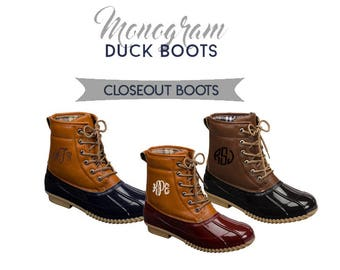 FINAL INVENTORY CLOSEOUT Monogram Duck Boots, Personalized Duck Boots, Winter Shoes & Boots, Monogram Ankle Boots, Personalized Shoes