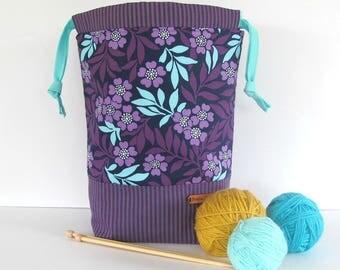 Knitting Project bag, drawstring crochet bag, large knitting bag, Purple aqua knitting tote gift for knitters