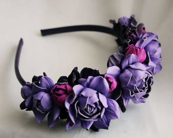 Lilac - Violet - Magenta Leather Roses  Flower Headband Headpiece