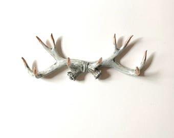 CUSTOM Faux Aged Finish with Copper Tips Faux Antler Rack wall hanging antler wall hook hat rack key hanger necklace hanger key rack