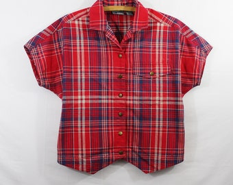 Vintage Red & Blue Plaid 100% Cotton Cropped Boxy Short Sleeve Button Down Top Women's Size XS S