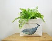 Whale Canvas Storage Box, Storage Solution, Storage Basket, Fabric Basket, Fabric Organiser, Storage Bin, Nursery Storage, Whale Gift