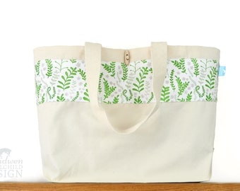 Ferns Large Tote Bag, Canvas Tote, Reusable Shopper Bag, Cotton Tote, Shopping Bag, Eco Tote Bag, Reusable Grocery Bag