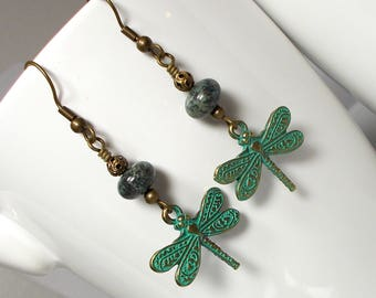 Dragonfly Earring, Patina Dragonfly Earring, Dragonfly Charm Earring, Jasper Stone Earring, Patina Earring