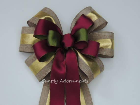 Gold Burgundy Wedding Pew Bow Moss burgundy Burlap Bow Fall Wedding Ceremony Decor Fall Chair Bow Wedding Aisle Bow Burgundy Green Fall Bow