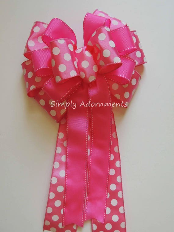 Pink White Dots Easter Wreath bow Pink White Dots First Birthday Party Decor Pink Girl birthday Decor Pink Whit Church Aisle Pew Bow Decor