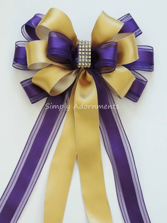 Purple and gold Wedding Pew Bow Purple Gold Church Aisle Decor Bow Purple gold Birthday Party Decor Purple gold Shower Bow Birthday Gift Bow